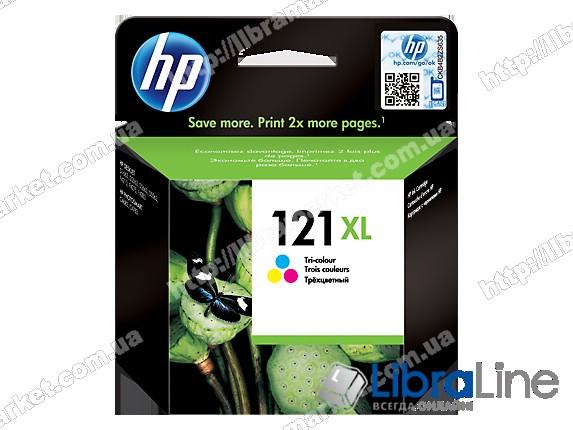 CC644HE, HP 121XL, Оригинальный струйный картридж HP увеличенной емкости, Трехцветный фото 1