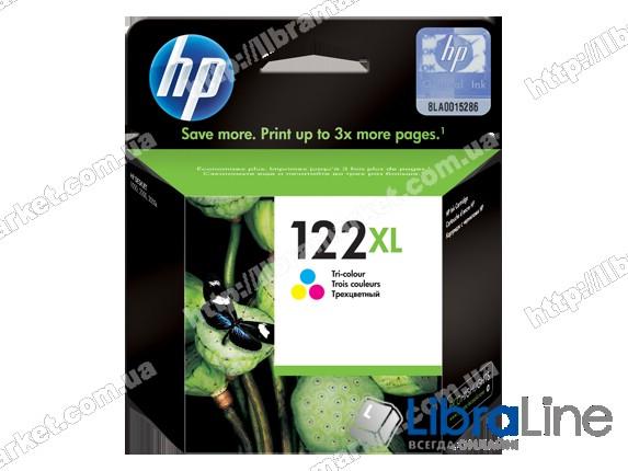 CH564HE, HP 122XL, Оригинальный струйный картридж HP увеличенной емкости, Трехцветный фото 1