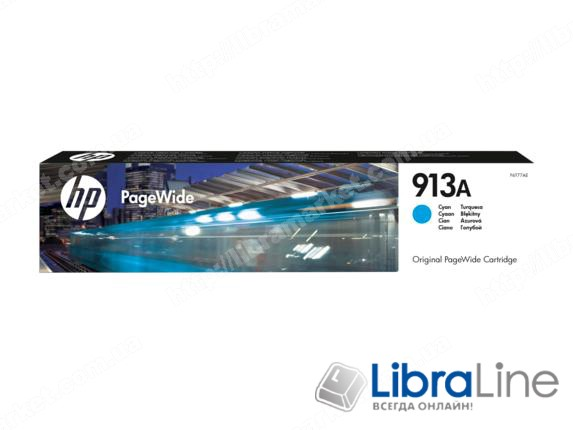 F6T77AE, HP 913A, Оригинальный картридж HP PageWide, Голубой фото 1
