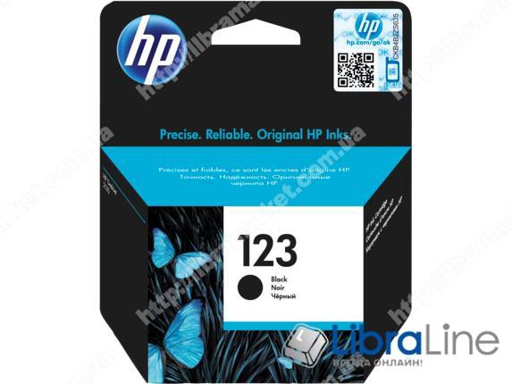 F6V17AE, HP 123, Оригинальный струйный картридж, Черный фото 1