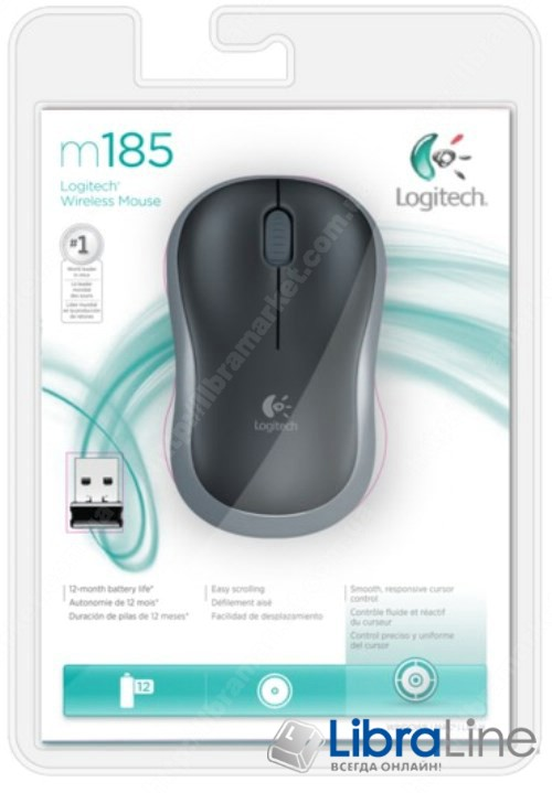 Компьютерная мышь Logitech M185 Black-grey wireless фото 1