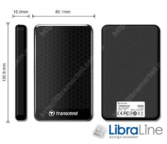 """TS1TSJ25A3K Внешний винчестер USB 3.0 Transcend StoreJet 25A3 1Tb 2.5"""" Black фото 1"""